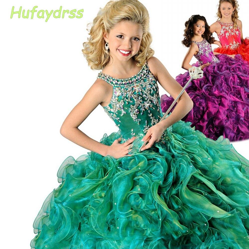 Зеленый Спагетти Бусы Бальное платье Дети Пром Платья 2016 DressesFlower Ritzee Девушки Pageant Платья EM04964