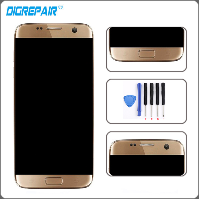 Golden For Samsung Galaxy S7 Edge SM-G935F LCD Display Touch Screen Digitizer With Frame Assembly Replacement Parts+Repair Tools