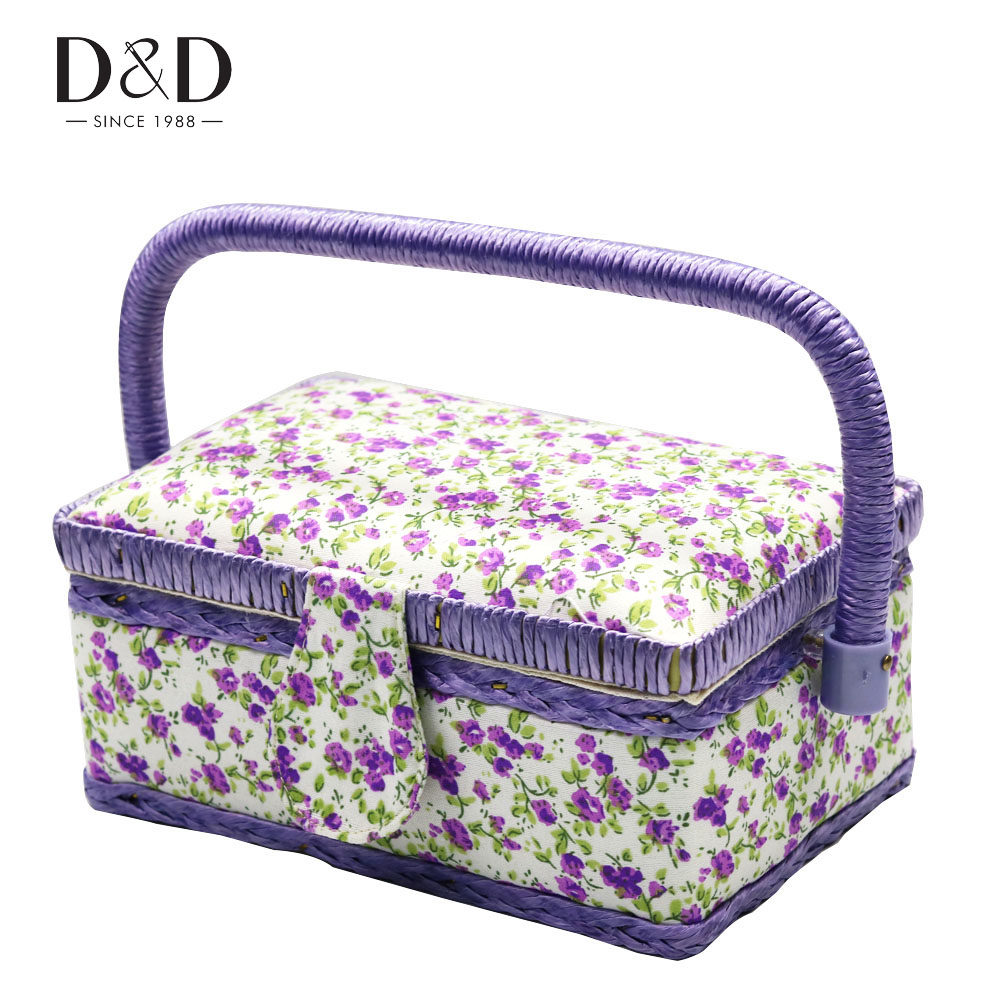 Mini Sewing Box With Sewing Tool Accessories Wooden&Cotton Fabric DIY Craft Household Kits Organizer 19*13*10CM