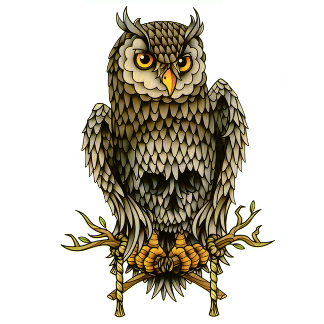Colorful skull owl waterproof temporary tattoos men tatuajes flash tattoo beauty animals tatoo sleeve tattoo sticker