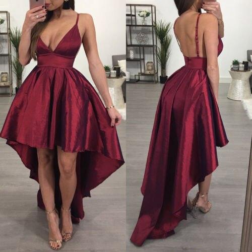 e74f79ab45 Summer Maxi Dress 2017 Women V-Neck Sleeveless Sweet Ball Gown Burgundy  Organza High Low Evening Party Dress