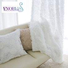 2016 Nuevo estilo Coreano rosas 3d cortinas cortina Romántica corto tul Translucidus cortinas cortinas de la sala de estar