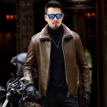 2019 new autumn and winter men's thick leather jacket zipper casual men's fur collar leather PU leather jacket