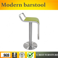 Free shipping U BEST modern stainless steel high counter leather bar stool bar chair,,fashion steel round bar chairs