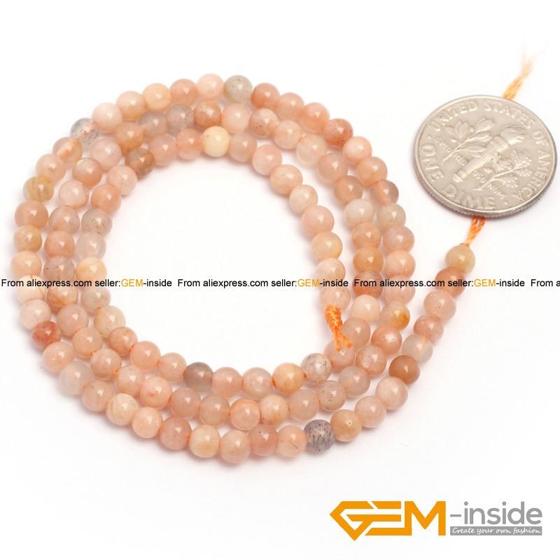 Naravni kamen Sunstone okrogla kroglica za izdelavo nakita pramen - Modni nakit - Fotografija 2