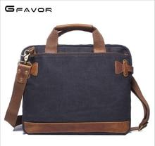 G-FAVOR 남자 캔버스 빈티지 캐주얼 서류 가방 비즈니스 어깨 가방 메신저 가방 컴퓨터 노트북 가방 남자 여행 가방