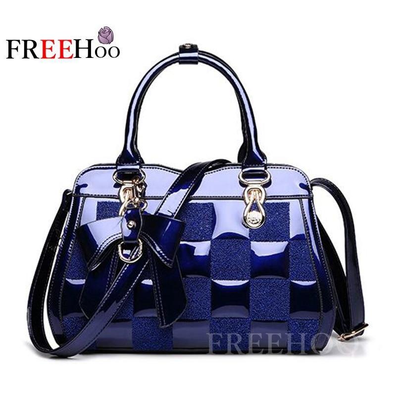 2017 new European fashion brand handbag patent leather embroidery women's Messenger bags women bag
