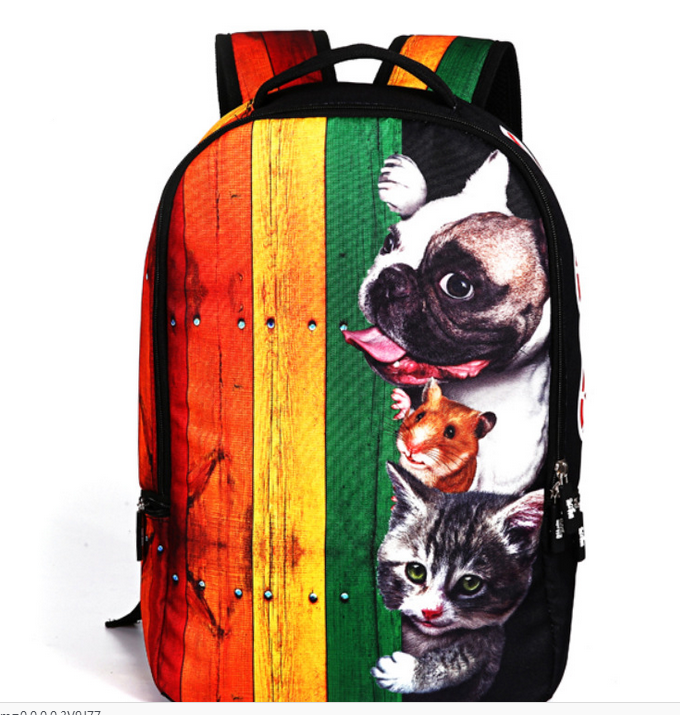 2018 Animal Printing Backpack Dog Bulldog Cats Children Backpack Boys Girls School Bags Schoolbag Travel Casual Mochila