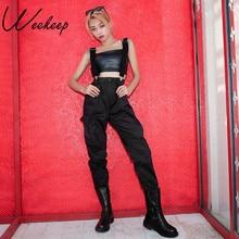 Weekeep Black High Waist Streetwear Pleated Cargo Pants Women Pantalon Femme