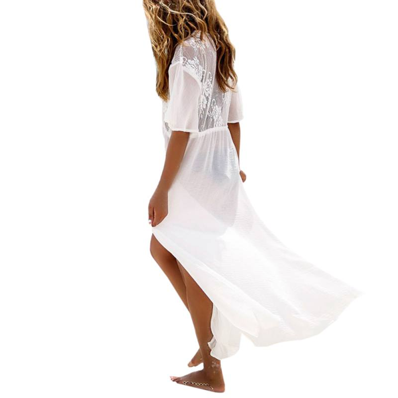 Women Beach Cover Up Floral Embroidery Lace Cover Up Robe De Plage Beach Cardigan Bathing Suit SILVERCELL