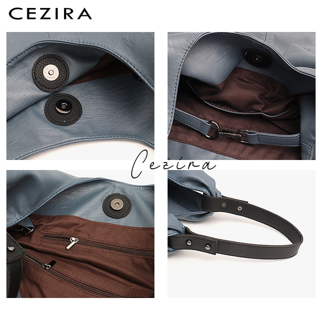CEZIRA Large Hobo Bags Women Vegan Leather Shoulder Bags Soft High Quality PU Fashion Casual Style Ladies handbags Shopping Bags 2