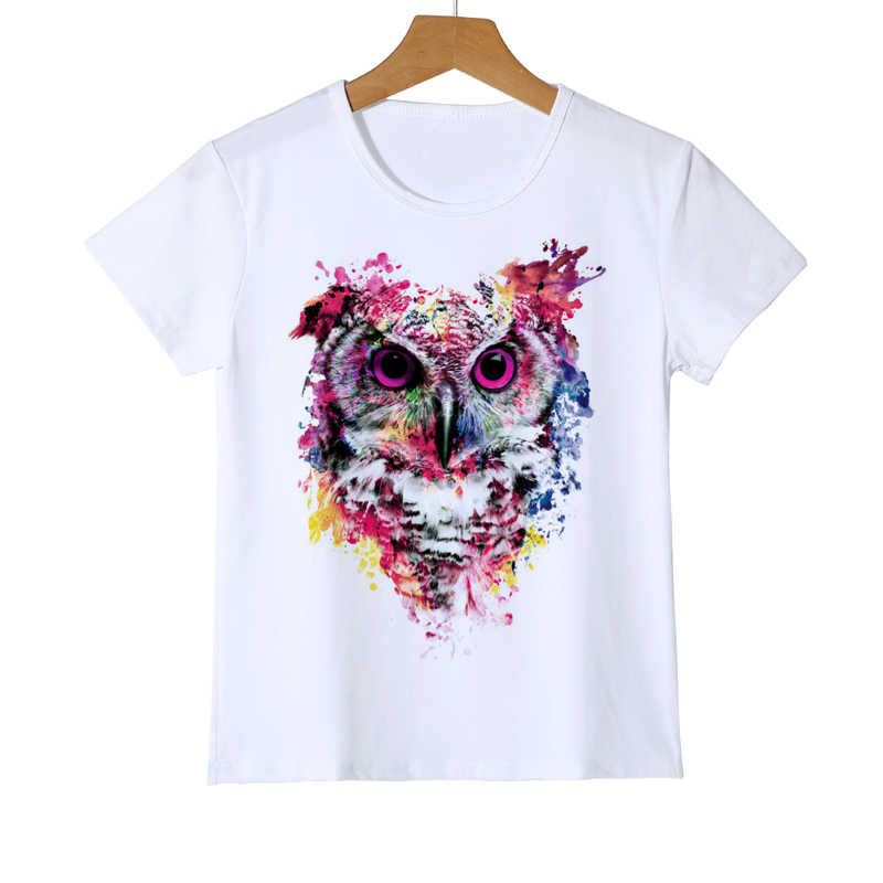 Summer Kids Owl T Shirt New Fashion Kawai Spring Clothing Tops Boys/Girls/Baby Animal Owl Print T-shirt Printed Clothes Z20-2
