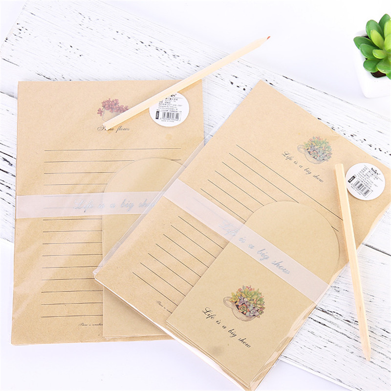 1PC (3 Envelopes + 6 Letter Paper) Kawaii Cactus Envelope Kraft Paper For Invitations Cute Office Stationary Supplies 03249