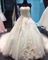 Dreagel Chic Applicaties Bloem Baljurk Prinses Jurk 2017 Kapel Trein Strapless Vintage Gown Vestido de Noiva