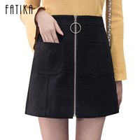 FATIKA 2017 New Women Autumn Winter Tight Suede Skirt Fashion High Waist Zippers Front Pockets Mini