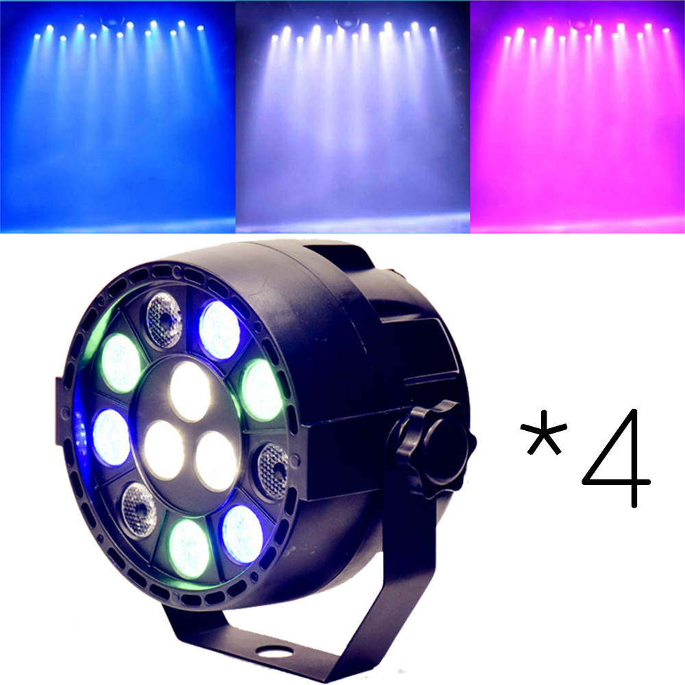 4 * DMX Sound Control 12LEDs RGBW Color Mixing Par Stage Spotlight for Disco Party DJ Projector Lighting Effect Black
