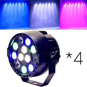 4*DMX Sound Control 12LEDs RGBW Color Mixing Par Stage Spotlight For Disco Party DJ Projector Lighting Effect Black