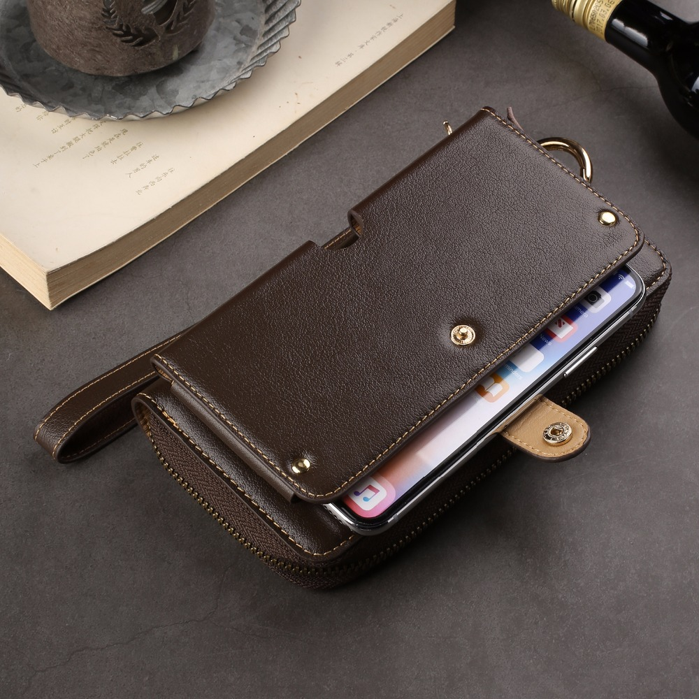 Genuine Cow Leather Wallet Finger Ring Belt Strap Mobile Phone Case Pouch For Galaxy A8 (2018)/A8+ (2018)/C7 (2017) J7+/C8/S7