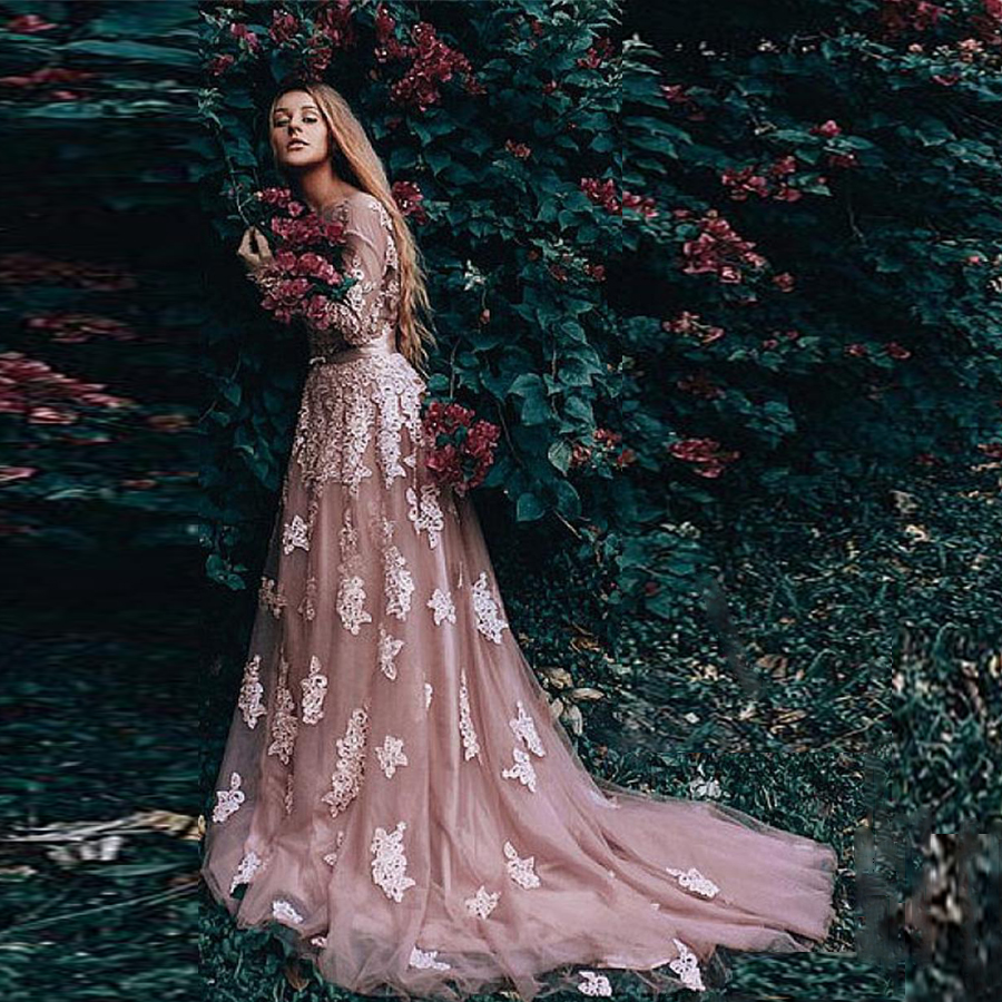 Lace O-neck Long Sleeves A-line Applique Wedding Dress With Bow Belt Sweep Train Backless Tulle Bridal Dress La Novia
