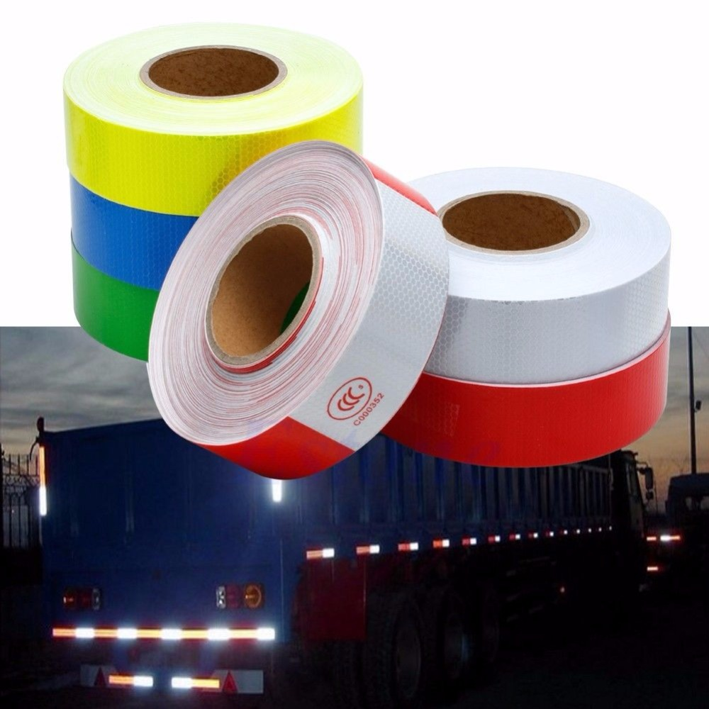 50M Reflective Safety Warning Conspicuity Tape Film Sticker Multicolor Car Truck new 10pcs white reflective safety security warning conspicuity tape film sticker reflective film hot sale