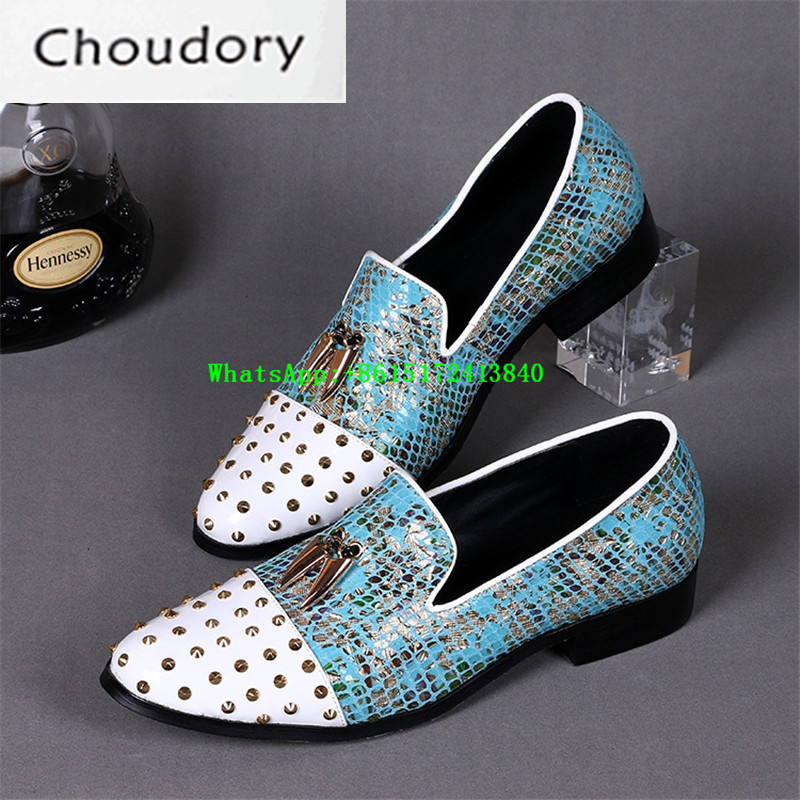 Choudory Mixed Colors Men Casual Shoes Pointed Toe Breathable Med Heels Comfortable Fashion Designer Metal Decoration Shoes Men