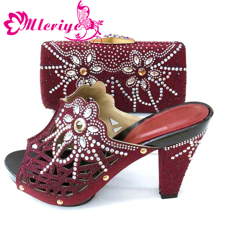 Italian-Shoes Bag-Set Matching-Bags High-Quality Wine-Color with And Ladies