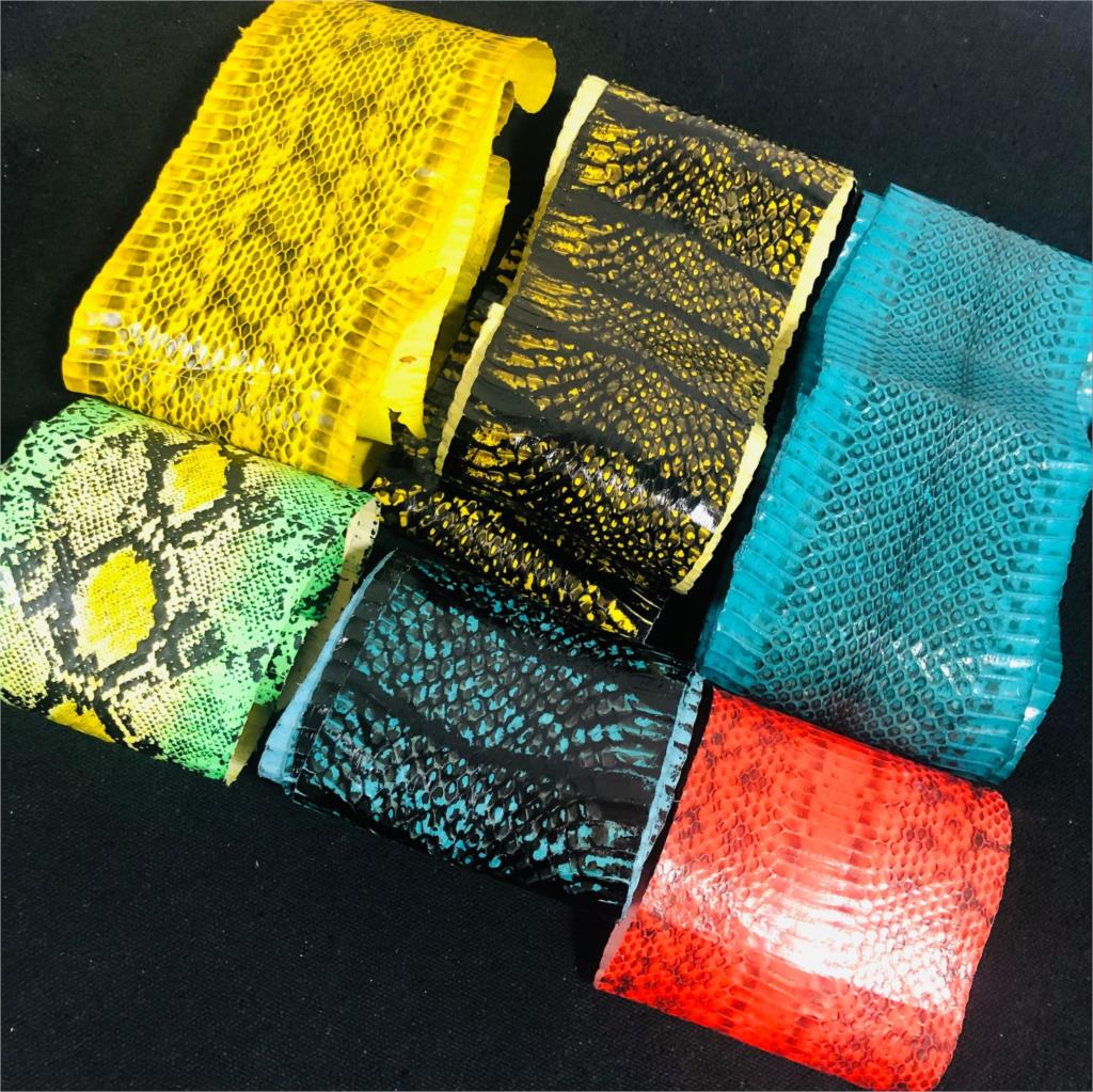 Colorful Genuine Snake Skin Nature Leather Piece Craft Material Multi Pattern 1pc For Wallet Handbag Decoration