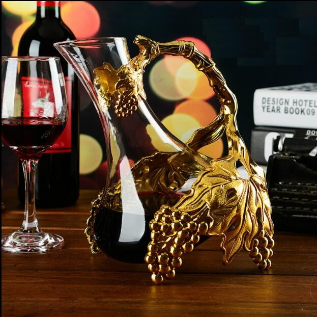 gold color alloy metal glass Red wine wakeer wine accessories cocktail shaker juice beverage drinks decanter