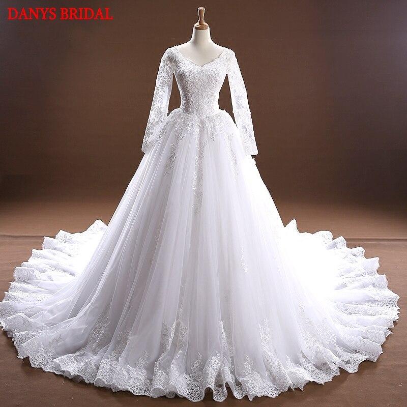Long Sleeve Lace Wedding Dresses Ball Gown Tulle Wedding Gowns Weding Bridal Bride Dresses Weddingdress vestido de noiva