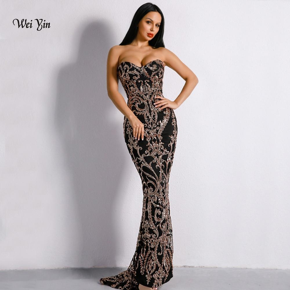Weiyin or paillettes sirène robes de bal 2019 chérie étage longueur Vintage dos nu longue robe de soirée robes formelles WY1145