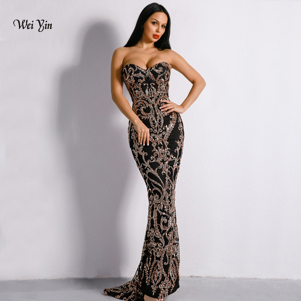 weiyin Gold Sequined Mermaid Prom   Dresses   2019 Sweetheart Floor Length Vintage Backless Long   Evening     Dress   Formal Gowns WY1145