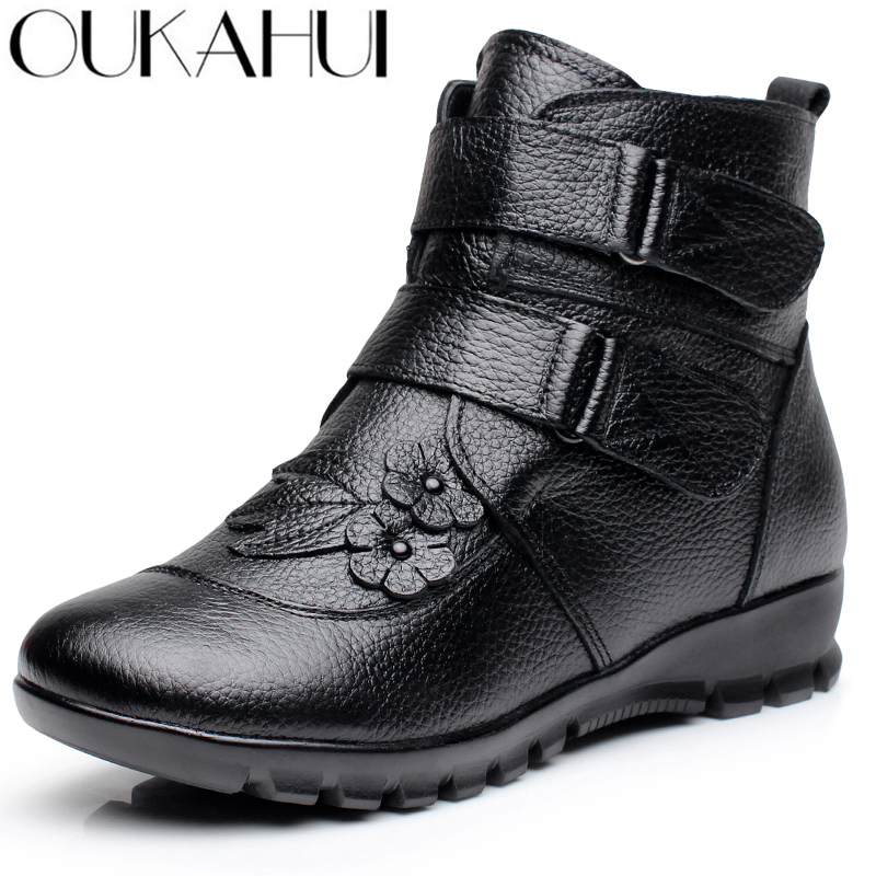 OUKAH Winter Genuine Leather Ladies Ankle Boots Women 2019 Black Flat Flower Waterproof Warm Cow Leather Short Snow Boots Woman
