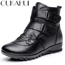 OUKAH Winter Genuine Leather Ladies Ankle Boots Women 2020 Black Flat flower Waterproof Warm Cow Leather Short Snow Boots Woman