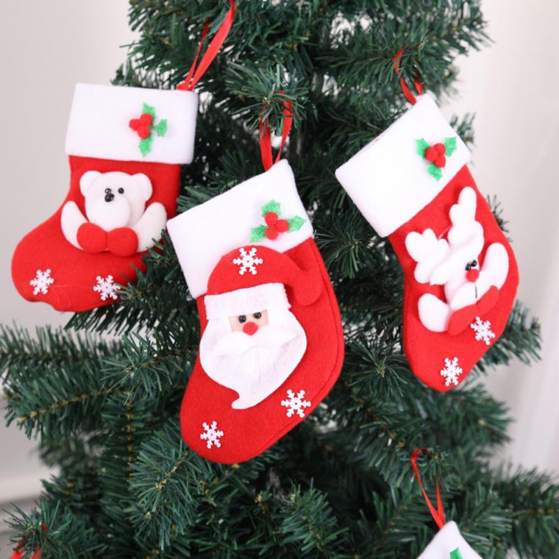 Little Christmas Stockings Gift Holders Santa Claus Snowman Holiday Gift