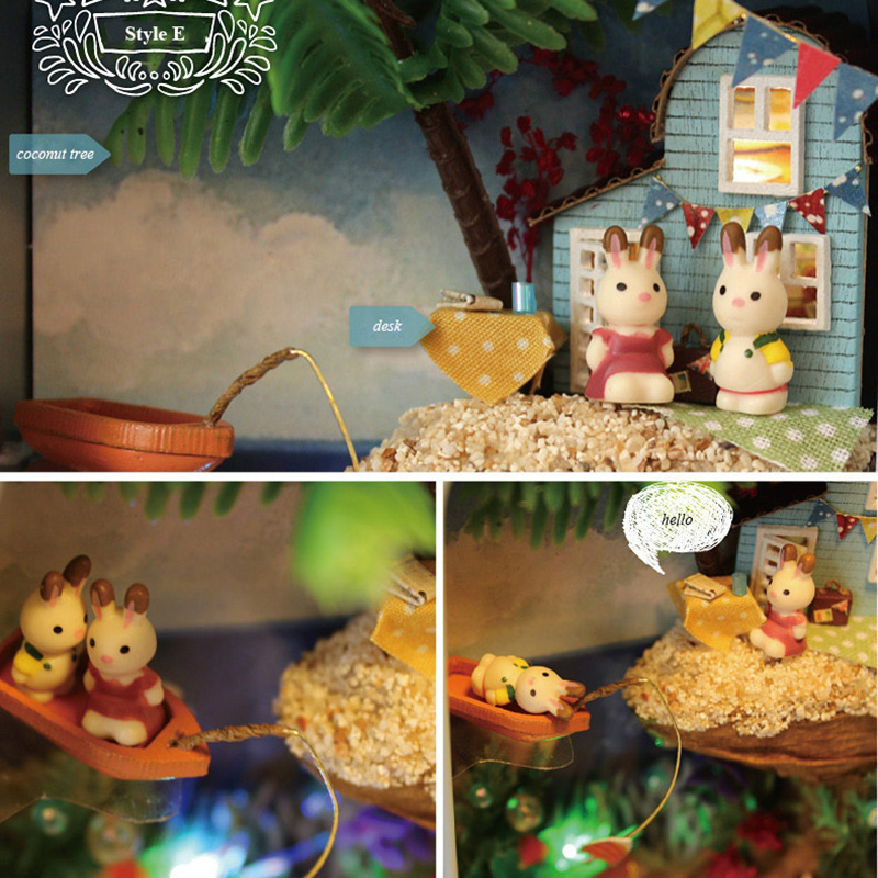 Island Adventures Box theatre DIY Mini Dollhouse 3D Wooden Puzzle Miniature Dolls Furnitures Handmade Decor Collection Gift Toy