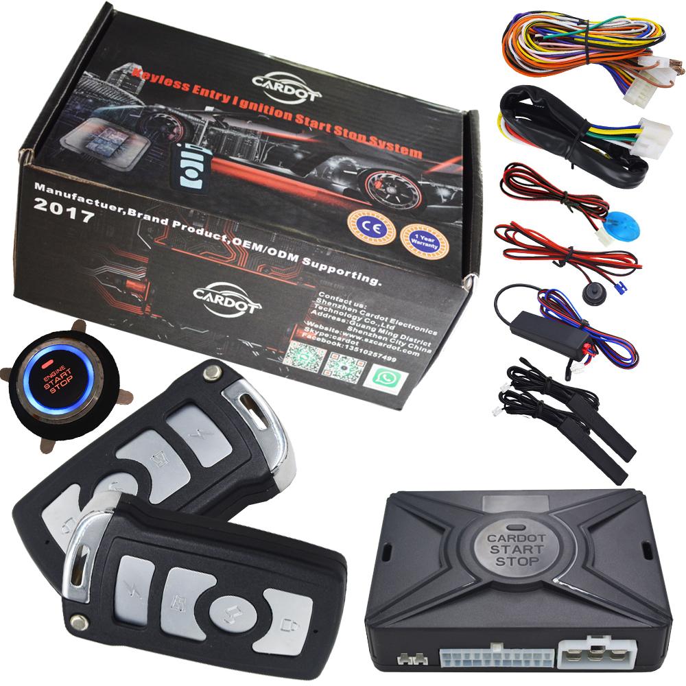Prix pour Cardot intelligent système d'alarme de voiture est avec passive verrouillage automatique ou déverrouiller la porte de voiture keyless go bouton-poussoir start stop, à distance start stop