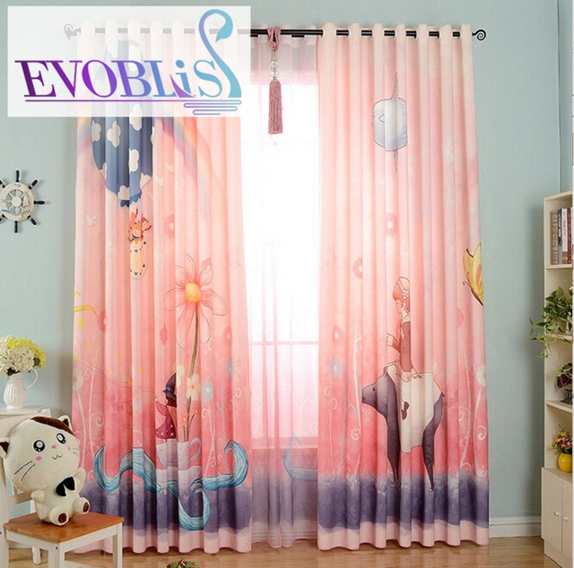 Curtains For Children Pink Kids Room Cortinas Infantiles Vorhang Baby