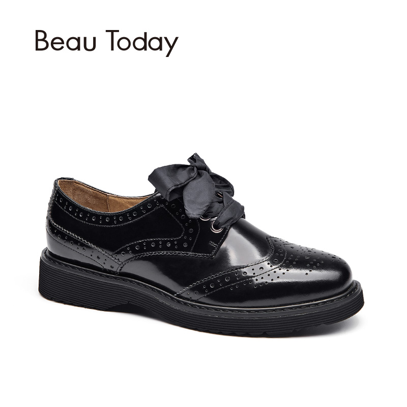 BeauToday Brogue Shoes Women Genuine Cow Leather Lace-Up Flats Round Toe Glazed Patent Leather 3 Kinds of Shoelaces 21089 6pcs of stylish color glazed round rings for women