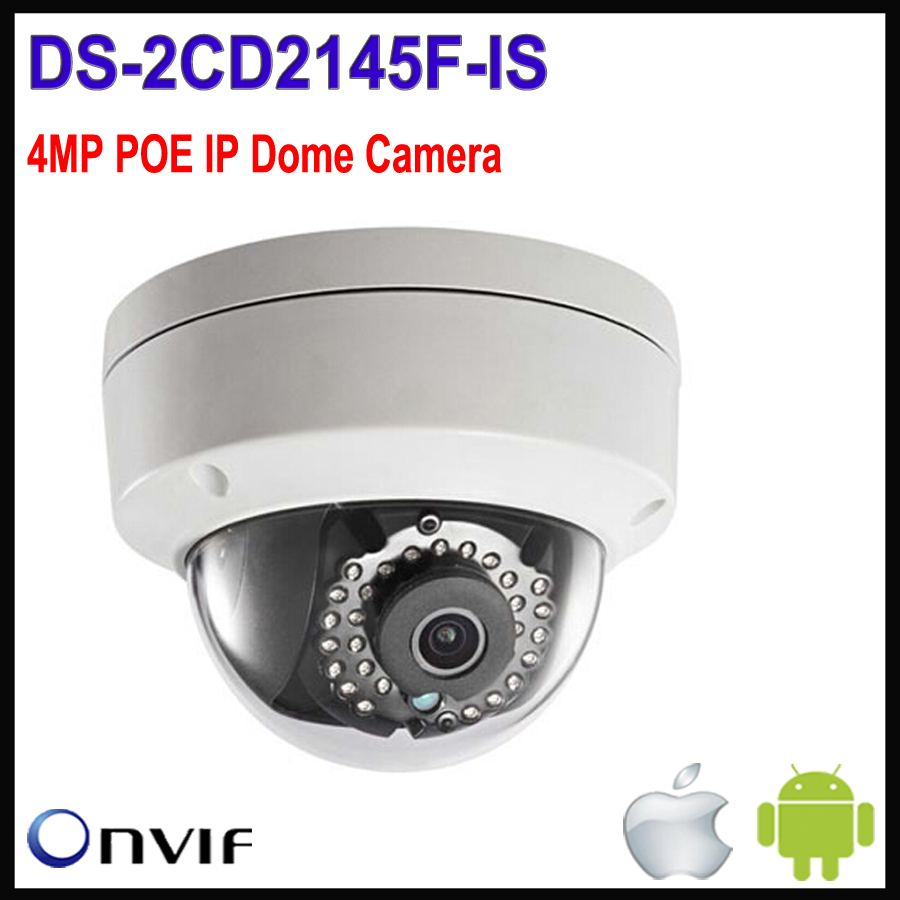 Hikvision dome camera 4MP DS-2CD2145F-IS Network Cameras IP h265 IP POE Camera Outdoor waterproof Vandal-proof web webcam cam