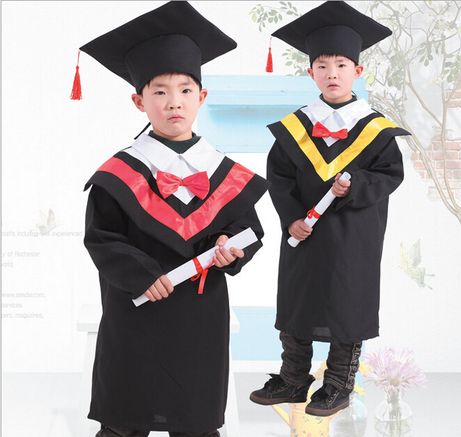 Children's Black Graduation Outfit Cap and Gown Outfit Costume Set ...