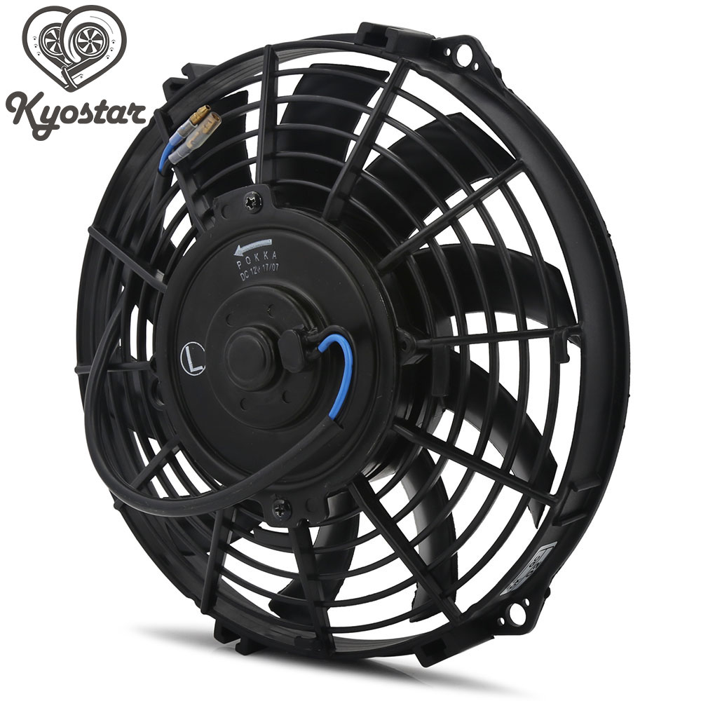 Universal 9 10 12 inch Auto Radiator Engine Oil Cooler Cooling Fan S Blades Slim Electric Pull Push Fan Cooling Fan 12V 80W