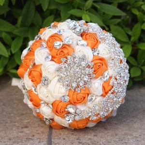 Image 5 - Kyunovia Vintage Brooch Bouquet Lace Handle Bridal Bouquets Wedding Accessories Brooches Bouquet Crystals Wedding Bouquet FE71