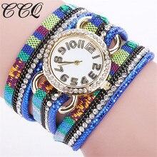 CCQ Luxurious Model Watch Ladies Leather-based Bracelet Wristwatch Informal Classic Style Rhinestone Quartz Watch Relogio Feminino 1742