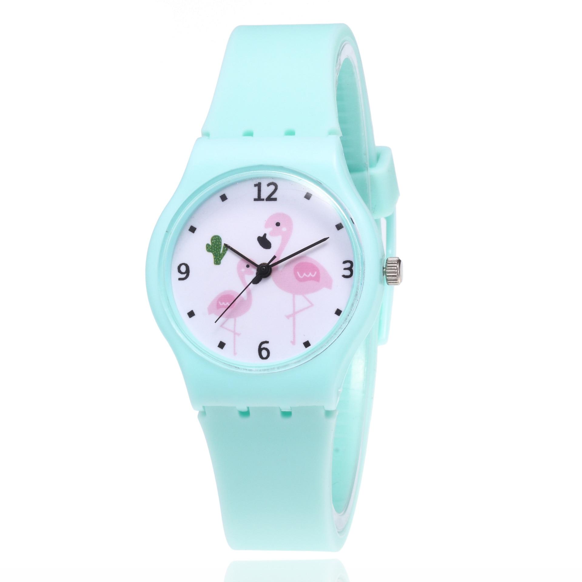 Flamingo Cartoon Watches Kid Girls Silicone Strap Wristwatch Kids Fashion Quartz Watch Cute Clock Montre Enfant Bayan Kol Saati