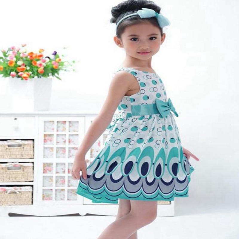 Kids Girls Bow Belt Dress Sleeveless Bubble Lovely Peacock Dress Party Skirt