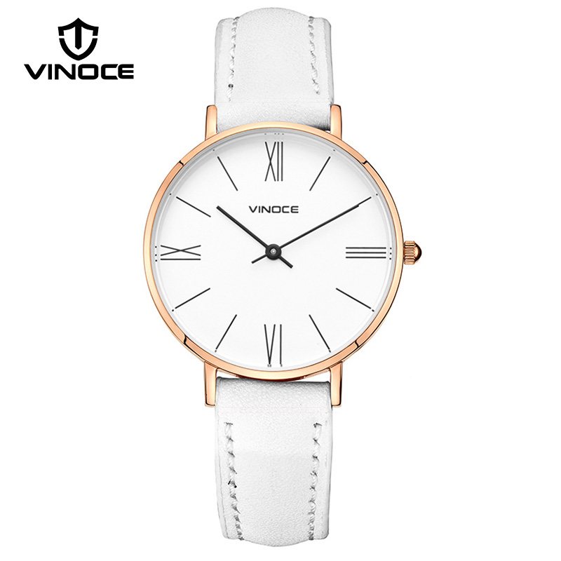 VINOCE Luxury Brand Women Quartz Watch Fashion Leather Strap Women Watches Ultra Thin Dial Relogio Feminino 2019 Clock #V9643