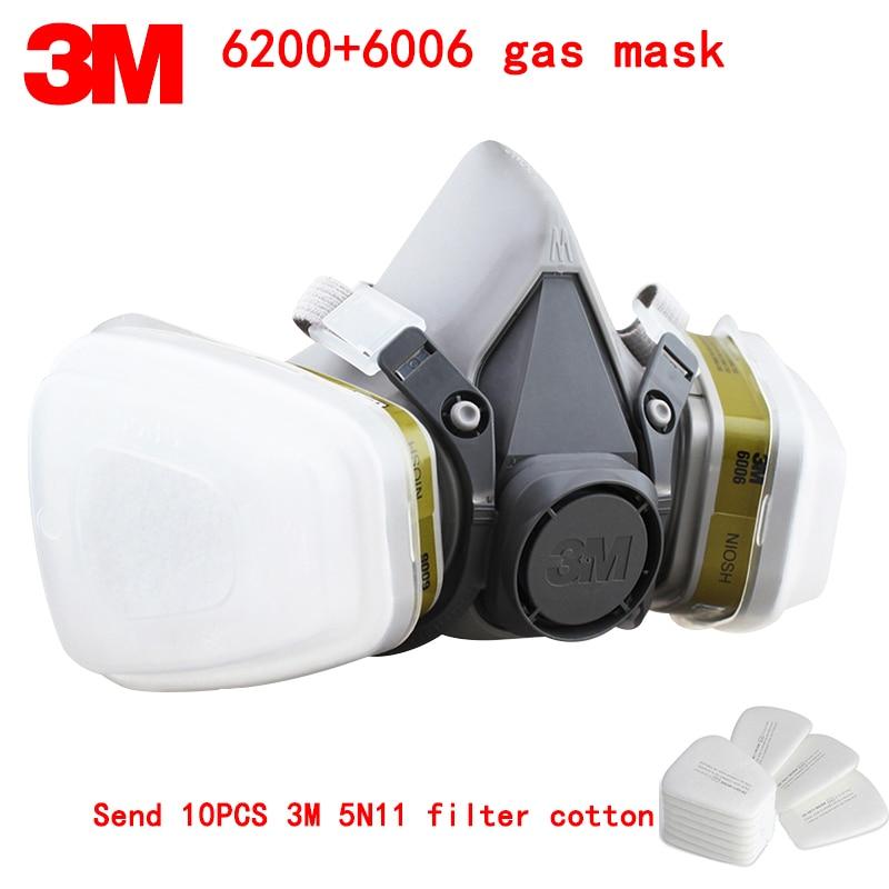 3 M 6200 + 6006 respirateur masque à gaz véritable sécurité 3 M masque de protection contre une variété de gaz toxiques mélangés masque respiratoire
