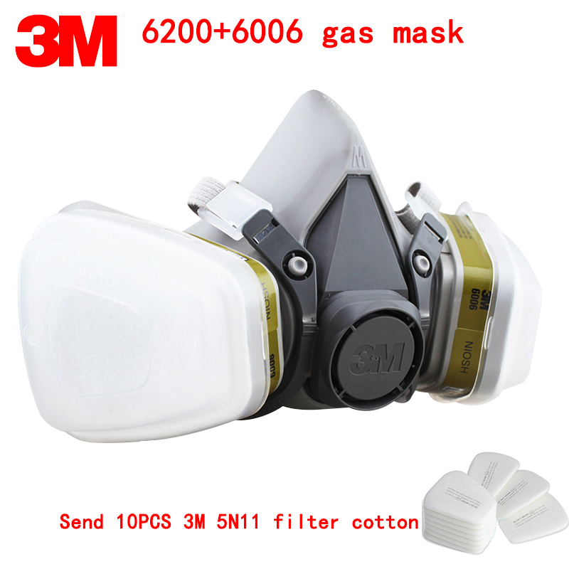 3M 6200+6006 respirator gas mask Genuine security 3M protective mask against A variety of mixed toxic gases respirator mask 3m 6200 anti virus dust respirator mask genuine universal variety filter main mask particulates paint toxic gas half ski mask