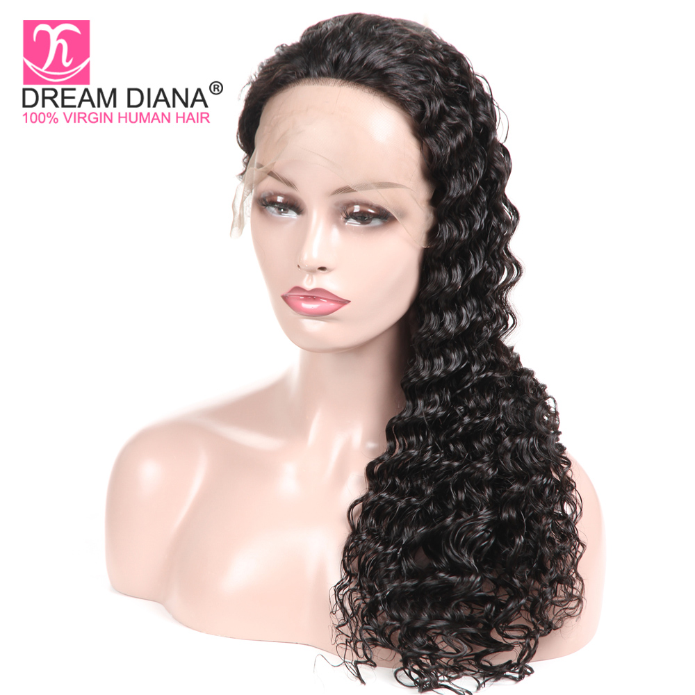 DreamDiana Malaysian Deep Curly Full Lace Wig Black Remy Wigs Hand Tied Glueless Curly Lace Wigs 100% Human Hair Full Lace Wigs(China)