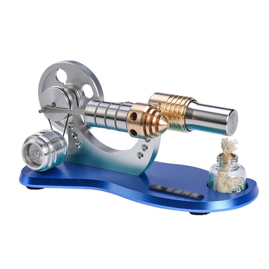 Metal Cylinder Bootable Stirling Engine Model Micro External Combustion Engine Model - Blue Baseboard